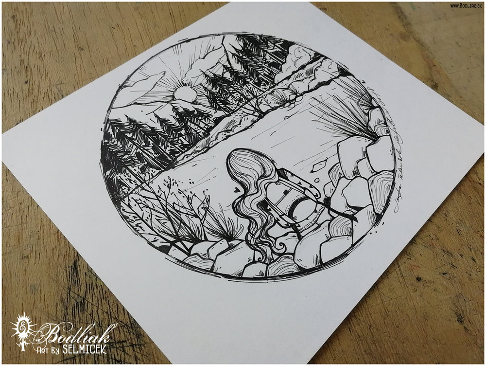 Len tak sediet, len tak byt (dievčatko pri vode)   autor: Selmicek  rozmer - priemer kruhu 15,5cm