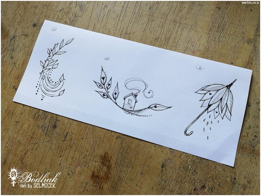 O lístočkoch  - 9cm x 4,5cm …  Domov listočkový  - 5cm x 10cm …  Prírodný dáždniček  - 8cm x 4,5cmautor: Selmicek
