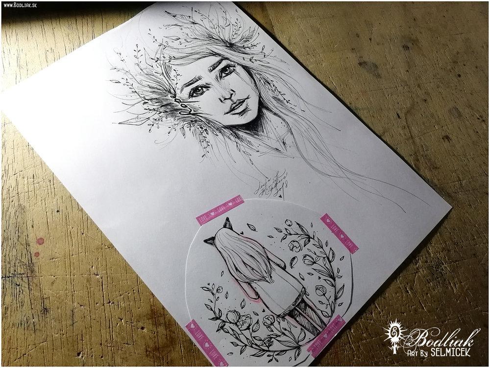 autor: Lenka Selmiček   hope  - 20cm x 16cm …  dievčatko s uškami  - 10cm x 11cm