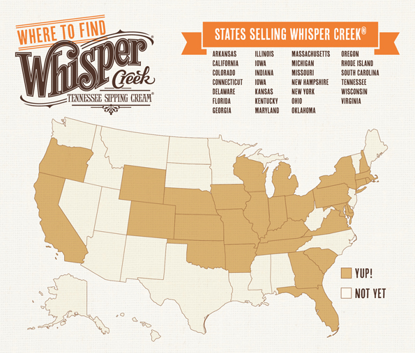 States selling Whisper Creek Tennessee Sipping Cream