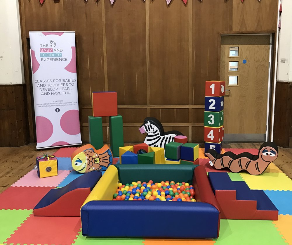 Ball pool with steps and slide with a variety of soft play shapes on soft matting ~ £55