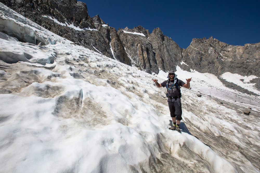 David Porter explores the Palisades Glacier 13,000ft on a recent trip to summit Mt. Sill.  The possibilities are endless.