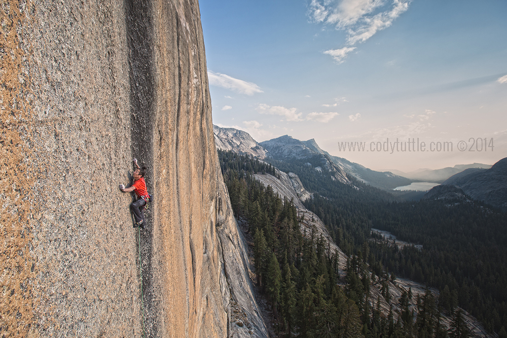 Lonnie Kauk staring down the infamous 2nd bolt on the Bachar Yerian 5.11c R/X.