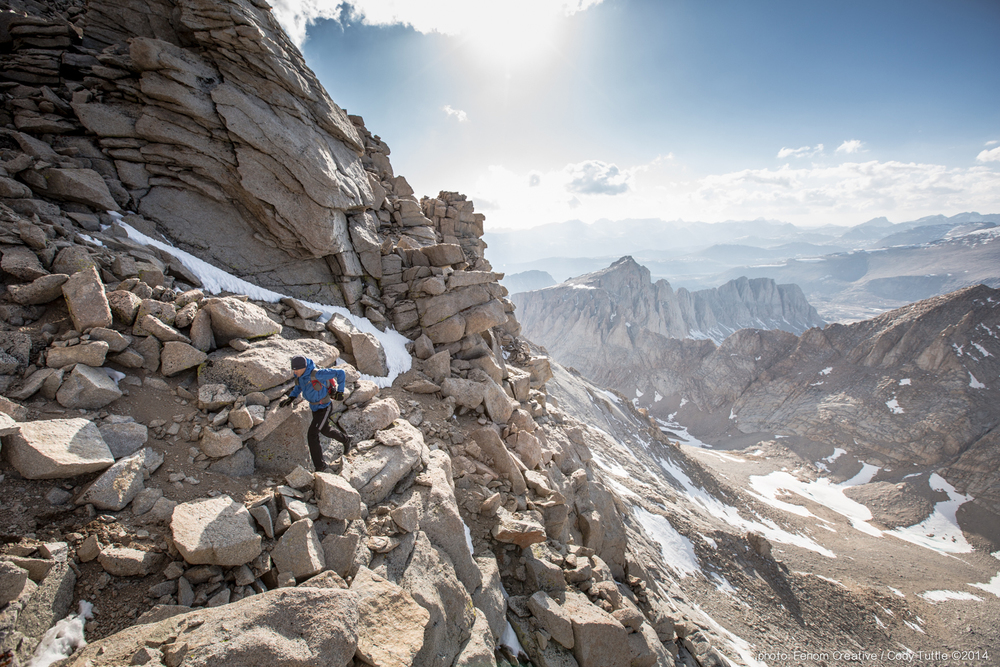 Don Bowie Adidas athlete runs to the summit of Mt. Whitney 14,500ft after cycling 130 miles from America's lowest point in Death Valley.  Photo: Cody Tuttle ©2014