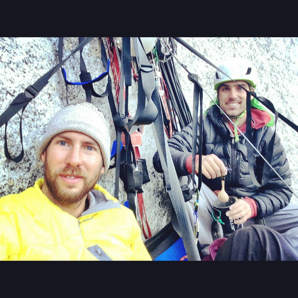 Josh Dibble (right) and I enjoying some breakfast 9 pitches up on El Cap in Yosemite National Park, CA