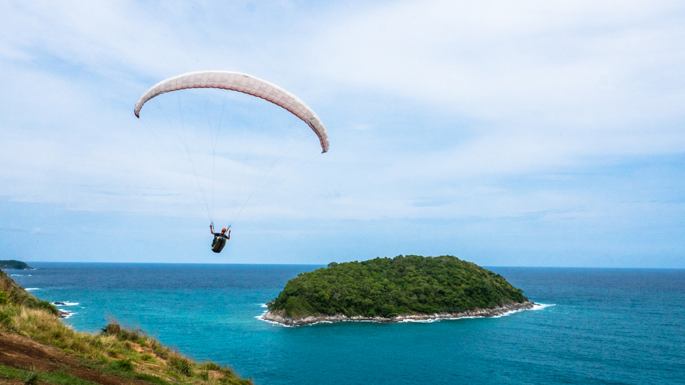 One Sky team member Cody Tuttle soaring off the coast of Thailand.  Photo: Cherise Tuttle