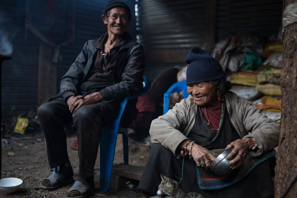 The monastery in Lho was destroyed after the quake and all the children evacuated to Kathmandu, before the children boarded the helicopter they were prepared one last meal by this woman. They seemed happy, even tough their lives had been turned upside down.