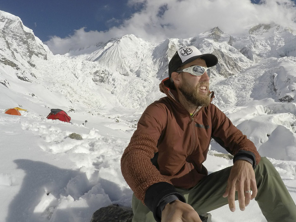 Taking a moment of self reflection after setting up Camp 1 on Annapurna.