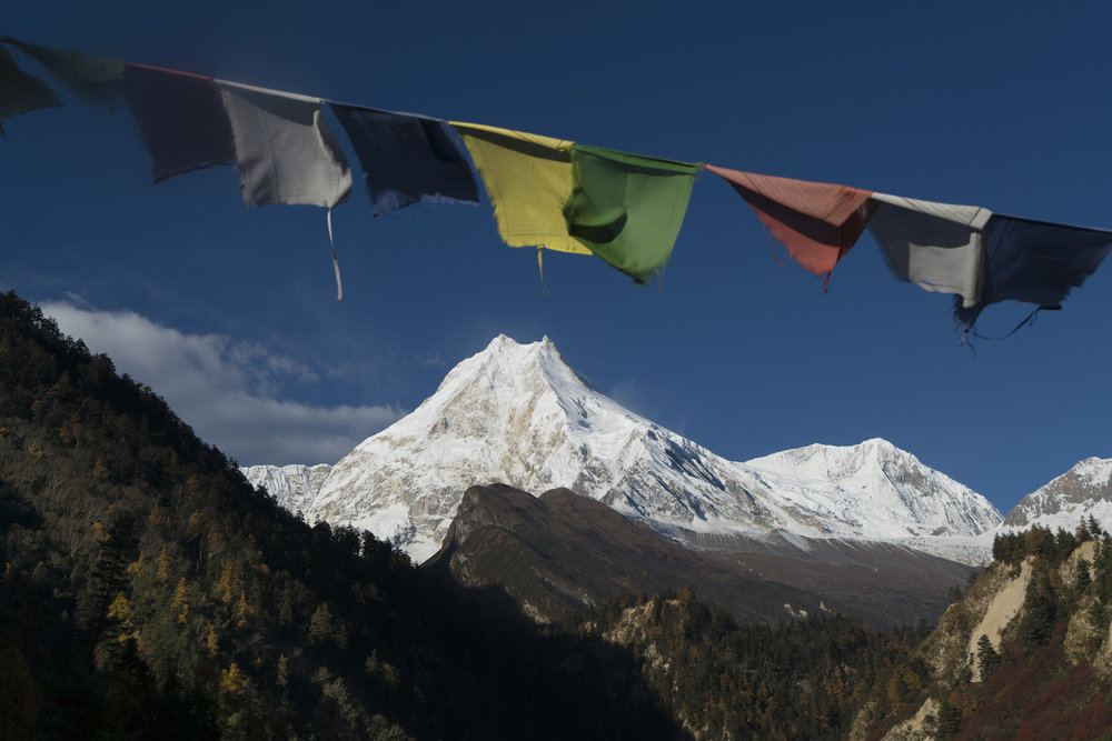 Manaslu seen from the village of Loh.