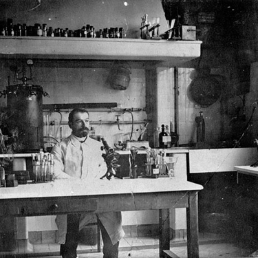 old man in lab