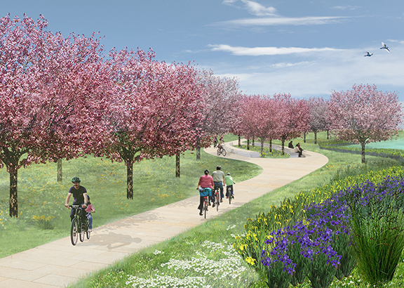 The park will be beautiful, Sinuous, braiding marshes, long grand pedestrian and bicycle promenades and amazing waterfront amenities.