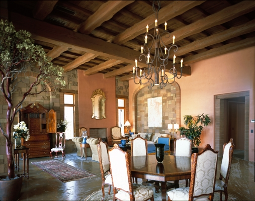 TUSCAN INFLUENCE STONE AND TIMBERED GREAT ROOM.JPG
