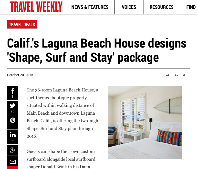Surf Stay package add Travel Weekly