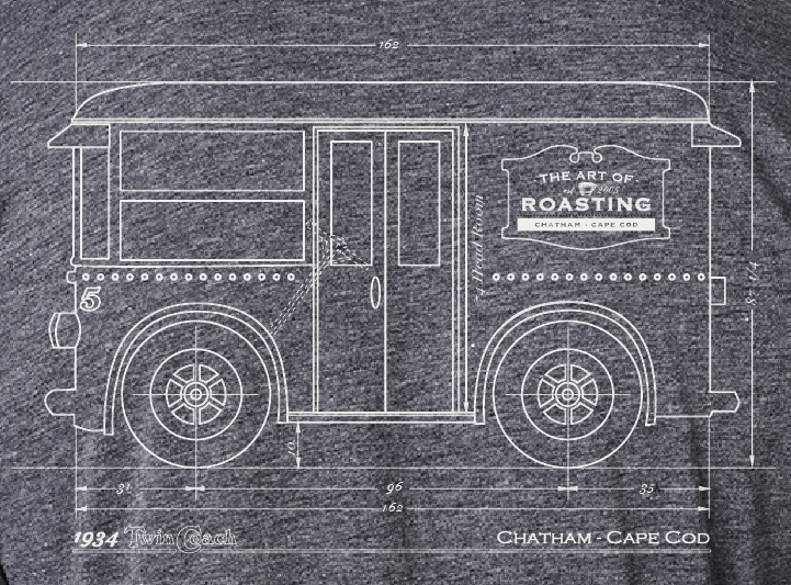 Twin Coach t-shirt: Our design for the t-shirt dedicated to our truck.