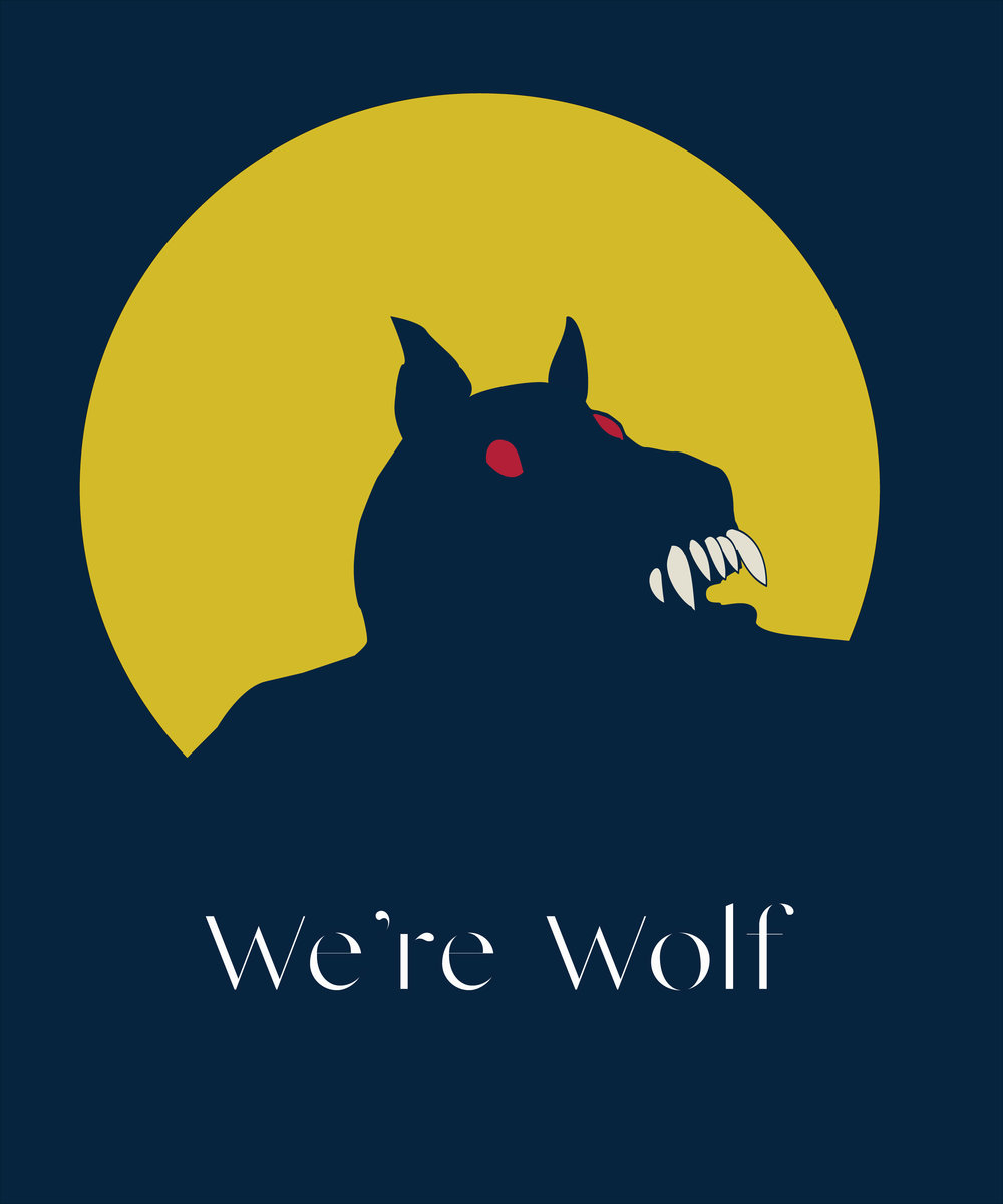 Minimalist design proposal for Halloween T-shirts with an Amazon shop.  We're Wolf.  Prints available for purchase upon request.  Shop coming soon.
