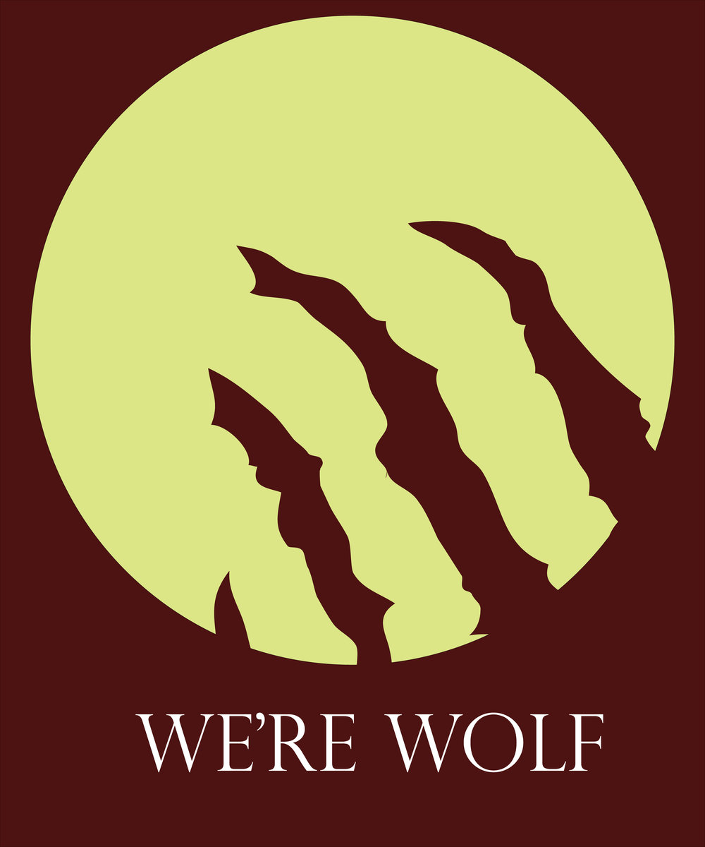 Minimalist design proposal 2 for Amazon Shirt shop.   We're Wolf 2