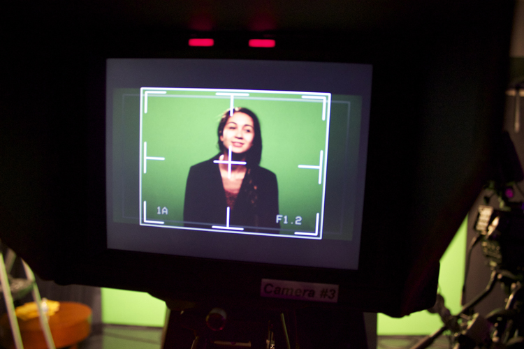 A view of Raneem through the viewfinder.  Election Night 2014  will be her first major on-air role at GHS-TV since joining Production Workshop this school year.