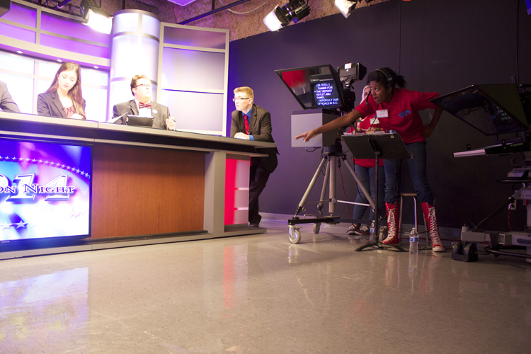Floor director Naya Foster kept the lines of communication open in Studio B.