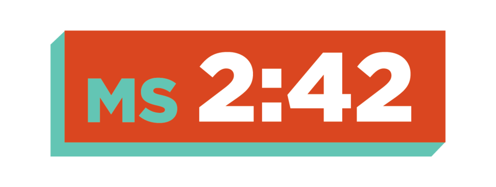 "Based on Acts 2:42, ""MS 2:42"" is a Wednesday night program for Middle students to experience biblical teaching, community, good food, and prayer together. We meet every Wednesday at 6:30pm."