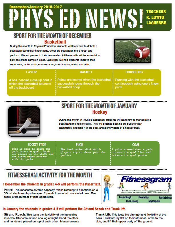 Physical education newsletter dec jan 2017