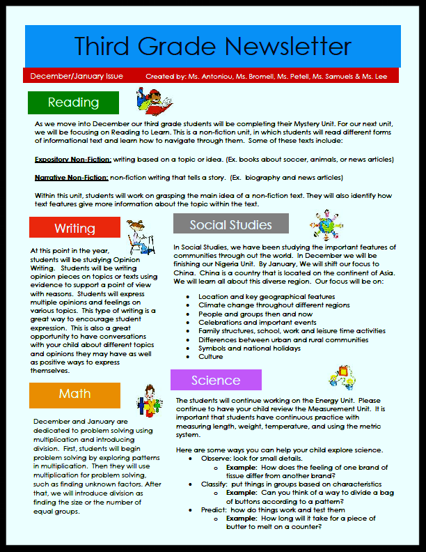 3rd gr newsletter pg 1