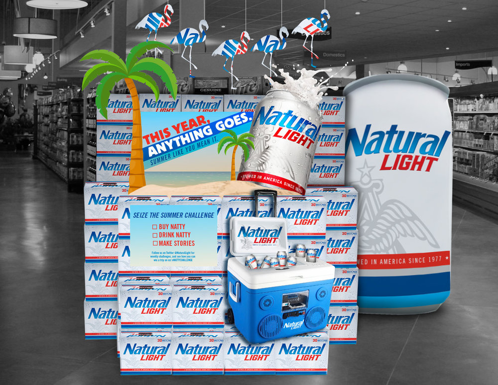 End cap display for grocery stores with a dealer loader (Natural Light cooler)