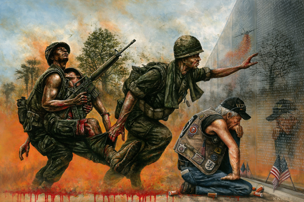 "DEATH FOLLOWED US HOME My latest painting depicts the veteran of the Vietnam War and his enduring struggle for honor, dignity and lifesaving care in America. Poisoned by Agent Orange and suffering mightily from PTSD, he kneels before his Flag and the names of his fallen Brothers in Arms to appeal for help and recognition. Although it cannot be seen from the outside, he is dying from the wounds he received there; "" I was killed in Vietnam- I just haven't died yet."" So many feel their suffering and service has been all but forgotten as the Country attempts to turn the page on this difficult and controversial period in American military history. *Prints now available, please inquiry on Contact page."