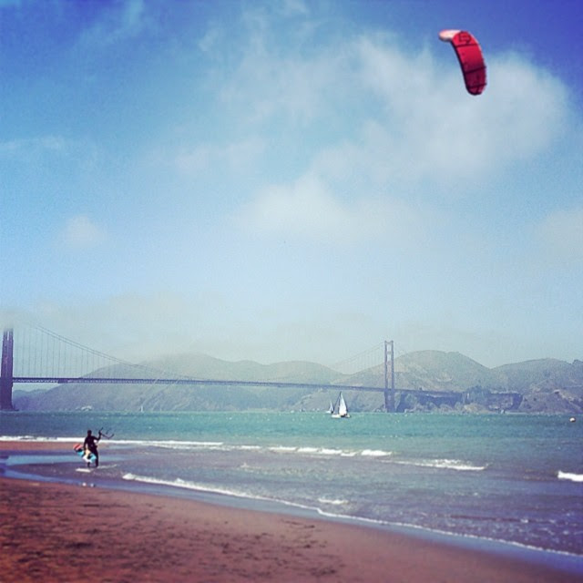 When not behind the desk. Kiteboarding under the GG Bridge...