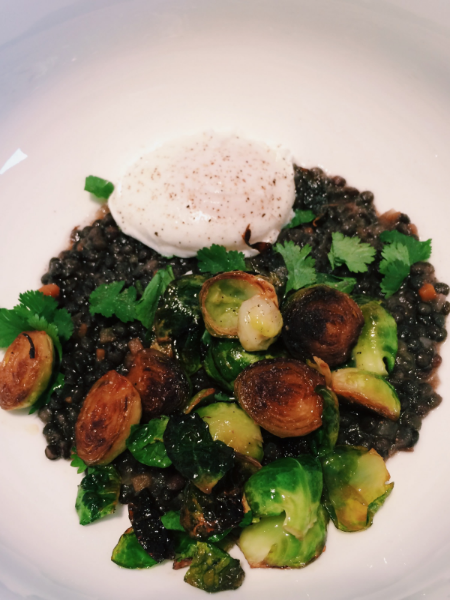 Stewed Lentils with a poached egg, brussel sprouts and cilantro, one of many possibilities