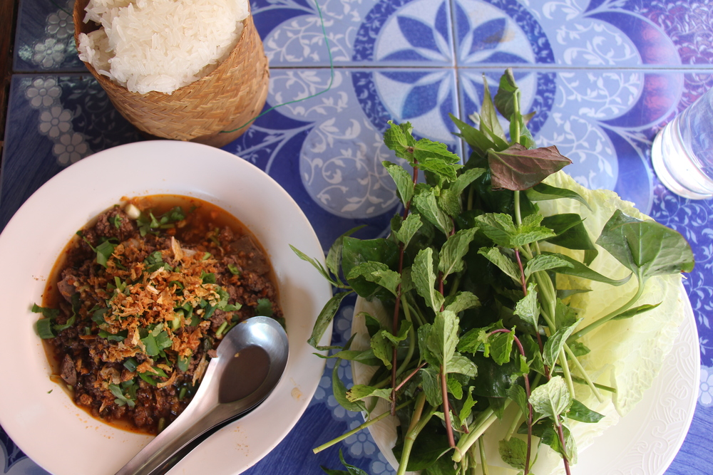 Laap khua, sticky rice, herbs