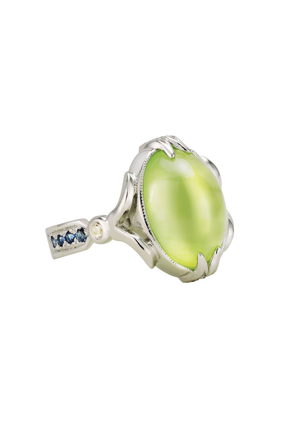 Cabochon Prehnite Ring