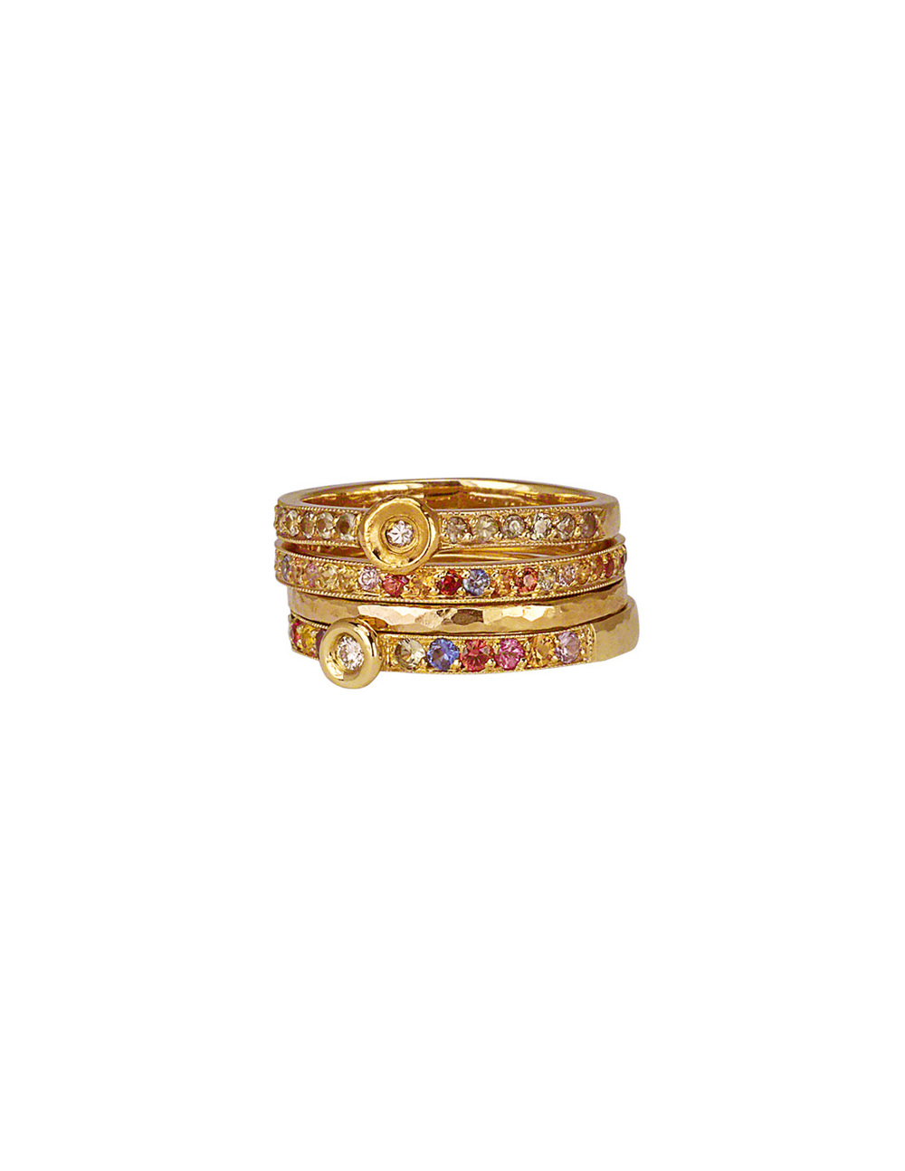 Multicolor Sapphire & Diamond Stacking Rings