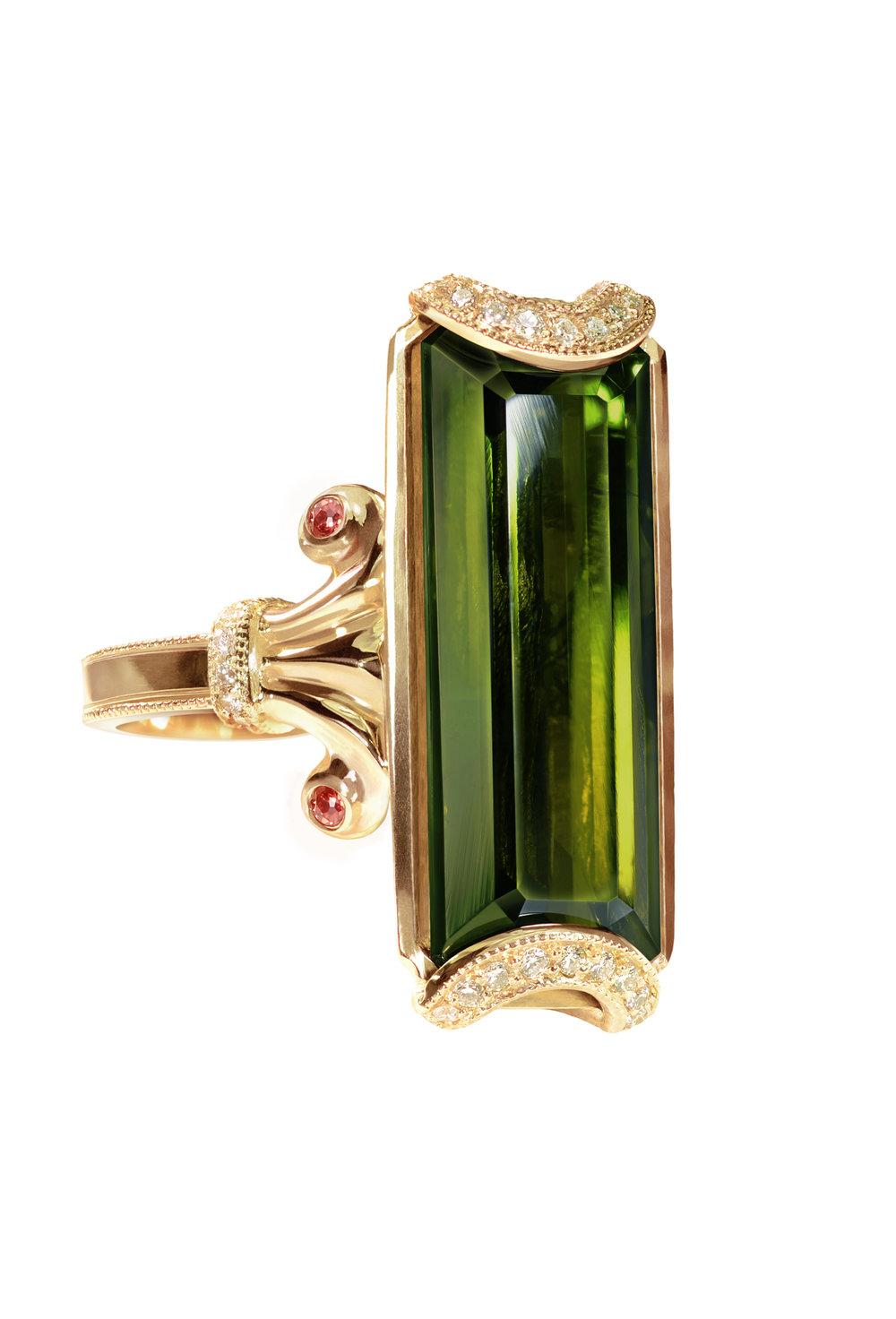 Green Tourmaline Cradle Ring