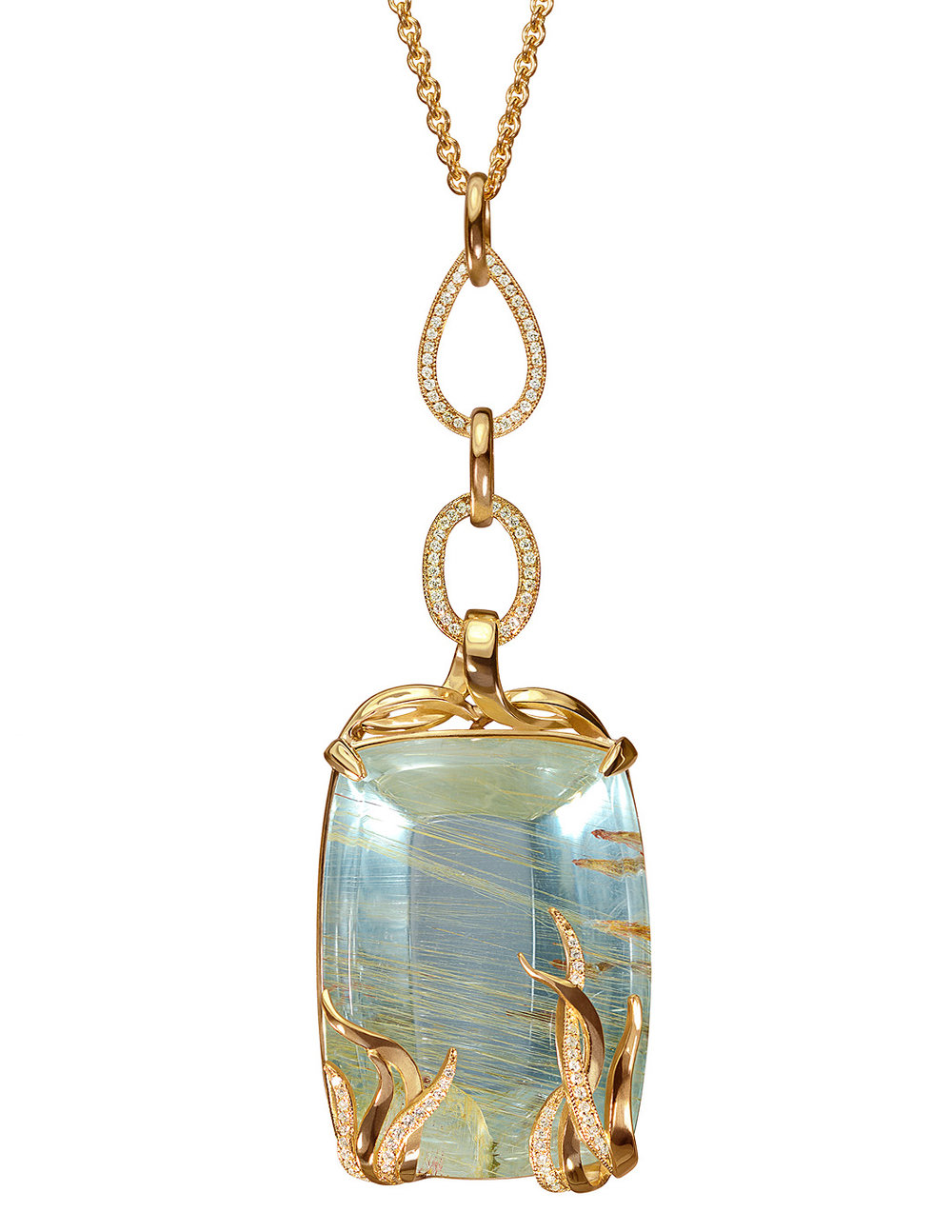 Rutilated Blue Topaz Pendant Necklace