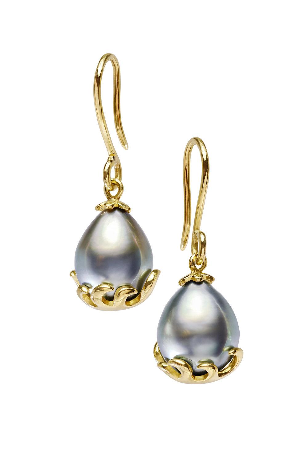 Tahitian Pearl Wave Earrings