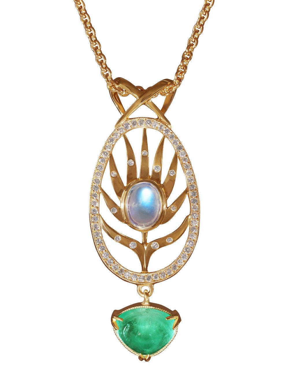 Palm Frond Pendant Necklace