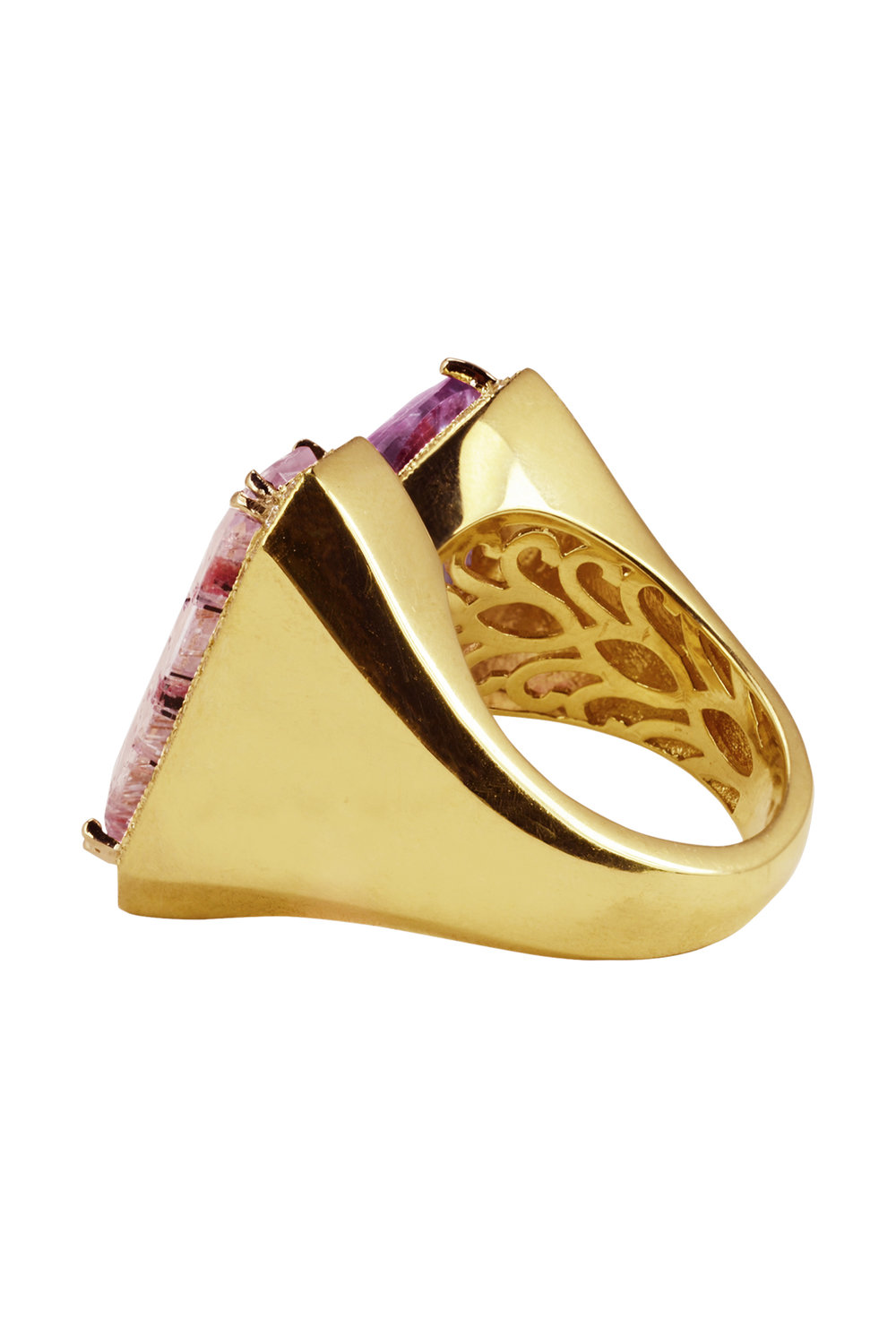 Amethyst Goethite & Rutilated Pink Kunzite Split Ring