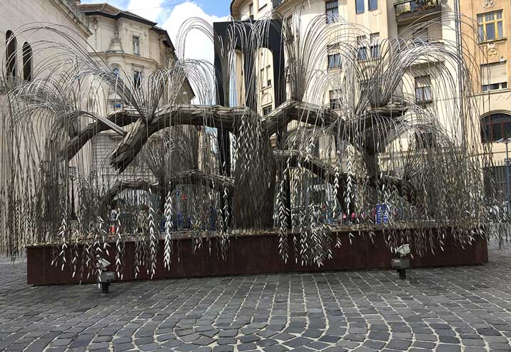Tony Curtis built this memorial in Budapest for Holocaust victims.  Every leaf has the name of someone on it. Image Source: Elaine Jean Cooper Archive.