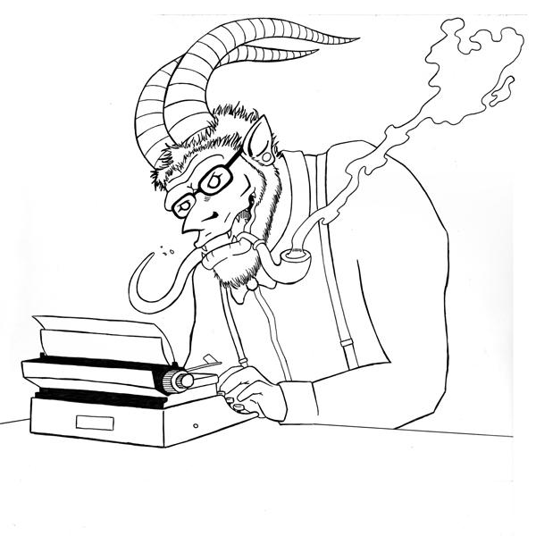 2014, Hipster Krampus inked sketch.