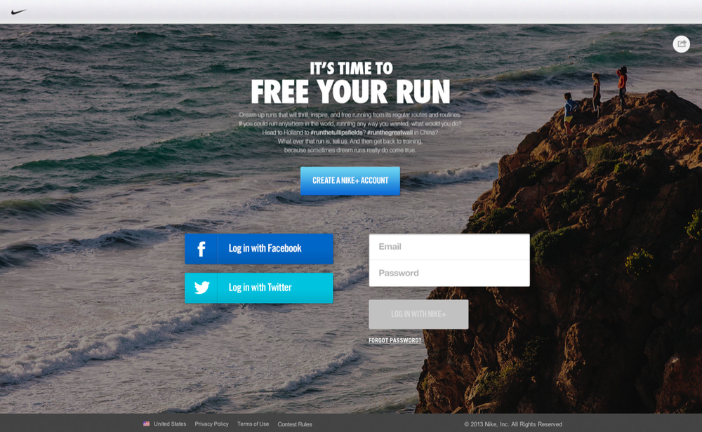 Sign in to create your dream run! Nike+ Accounts were used to securely track run submissions.