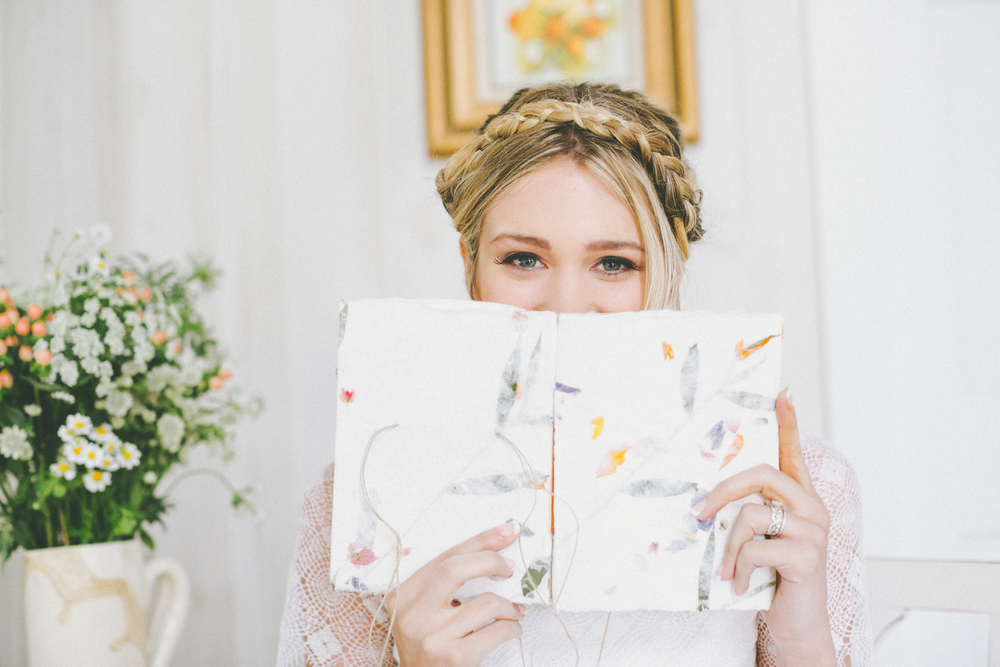 bride with guestbook