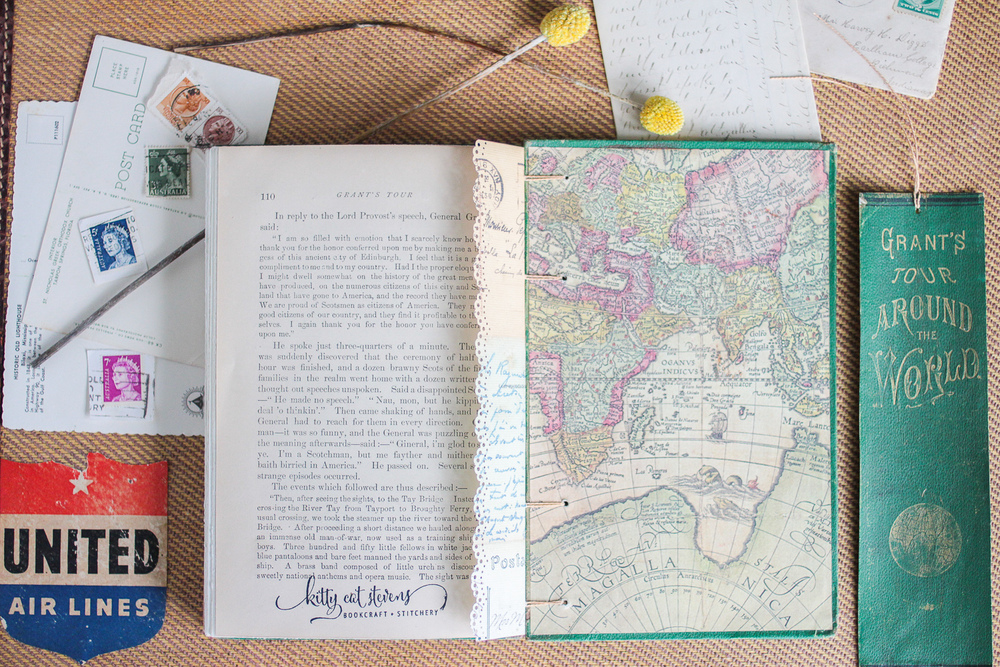Handmade Travel Themed Wedding Guestbook with Hand Embroidered Details by Kitty Cat Stevens