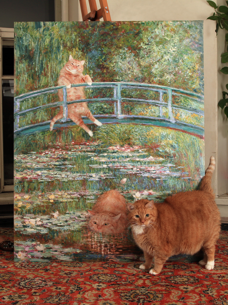 fatcatartru: Zarathustra the cat with his life size portrait by Claude Monet