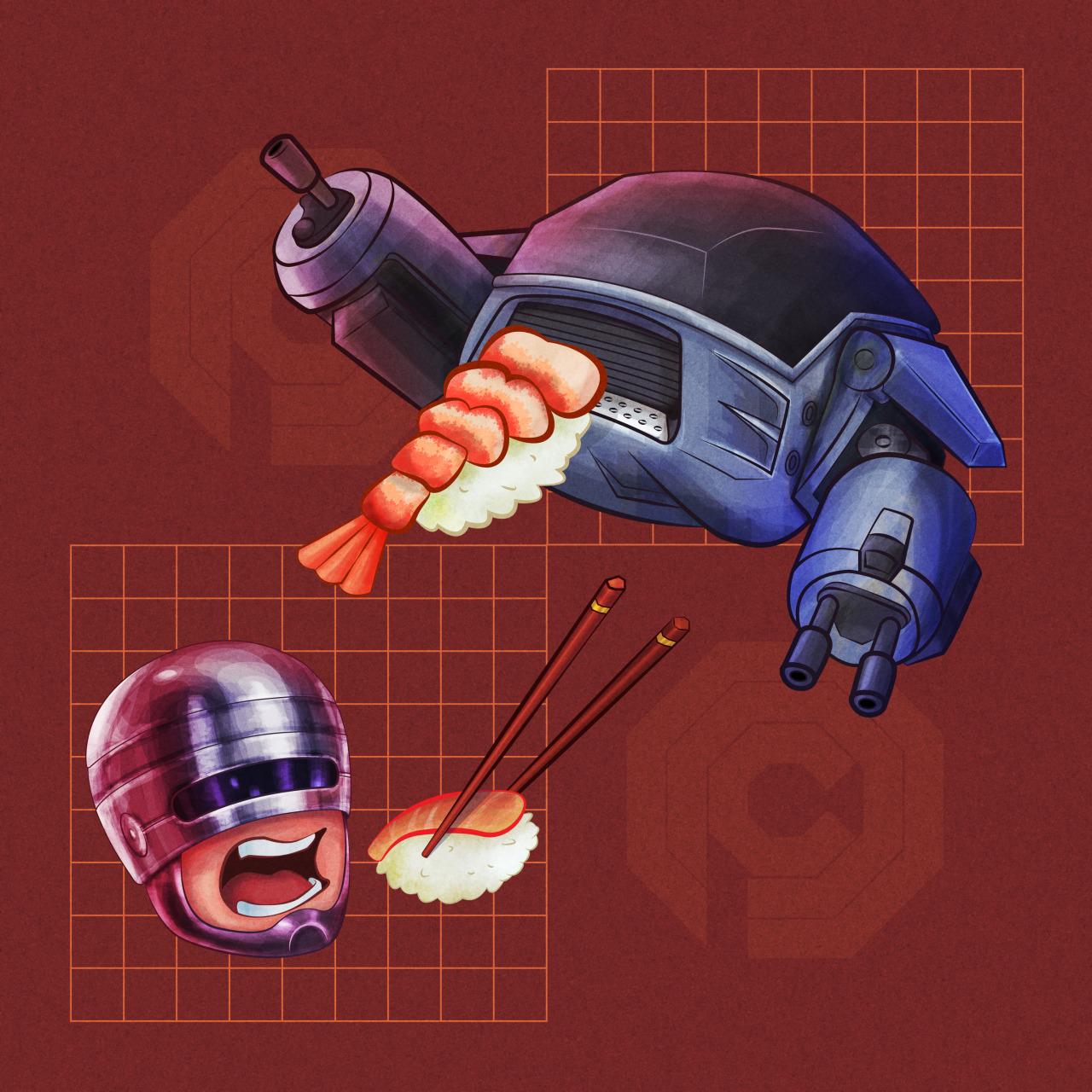 evankangillustration :     RoboCop & Nigiri