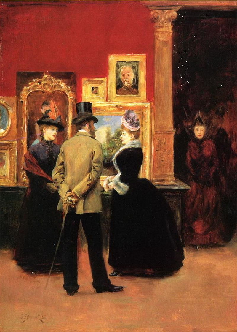 books0977 :     Ladies with a Gentleman in a Top Hat (1888). Julius LeBlanc Stewart (French, Realism, 1855-1919). Oil on canvas.   The gentleman, said to be Comte Ludovic Napoleon Lepic (1839-1889), is conversing with two ladies in a gallery, possibly at the Paris Salon of 1888. Ludovic Lepic was quite the renaissance man, many-talented and much-liked. An artist in his own right, he studied under Cabanel and Gleyre.