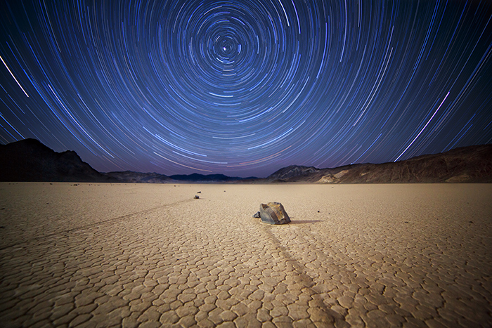 In this shot that Paul produced in Death Valley, he used the Bulb setting because he needed a two-hour exposure time. He kept the shutter open using a locking cable release, walked back to his car a half mile away, brushed his teeth, played some FIFA on his tablet, diddle-daddled some more, and came back to finish the exposure.