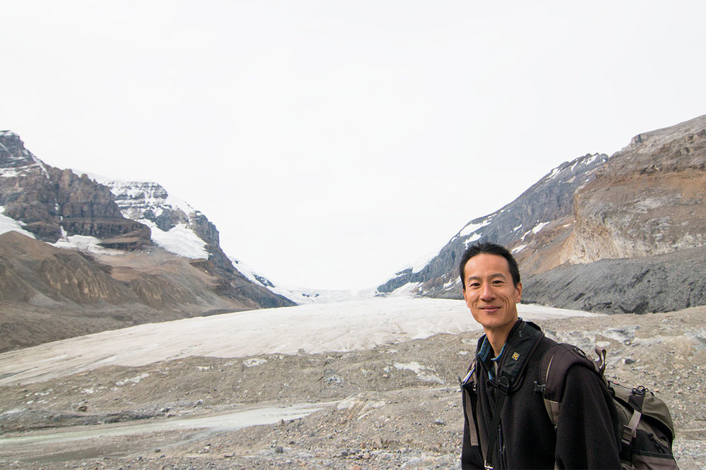 Paul in front of Athabasca Glacier on the Icefields Parkway. (Lauren Chagaris)