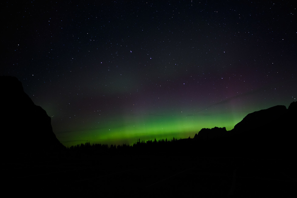 northern lights at logan pass