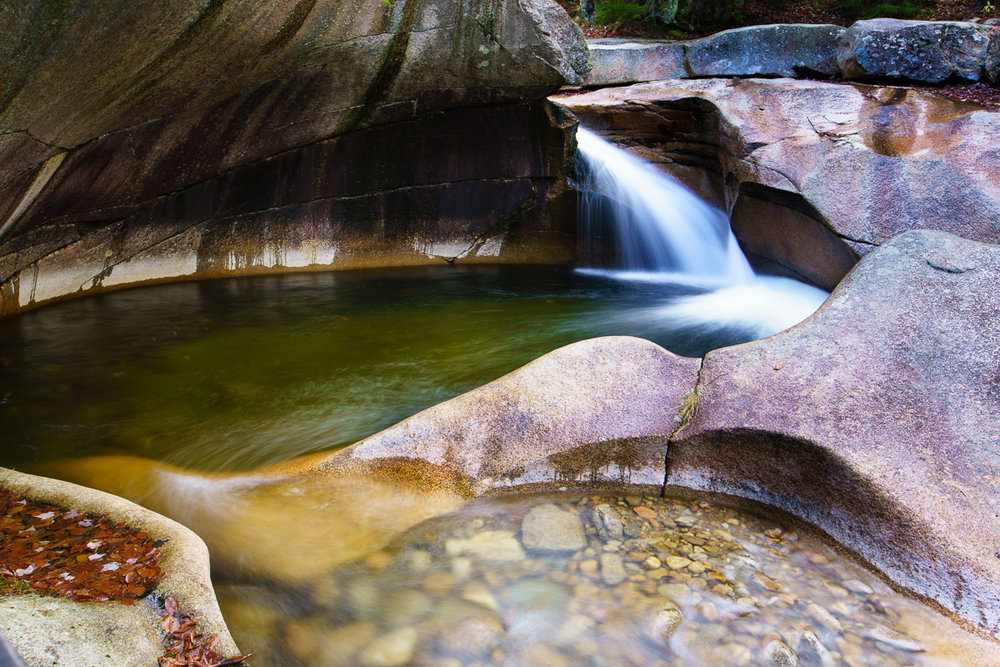 """""""The Basin"""" near Lincoln, NH with its time-sculpted rock formations, are a water photographer's dream."""