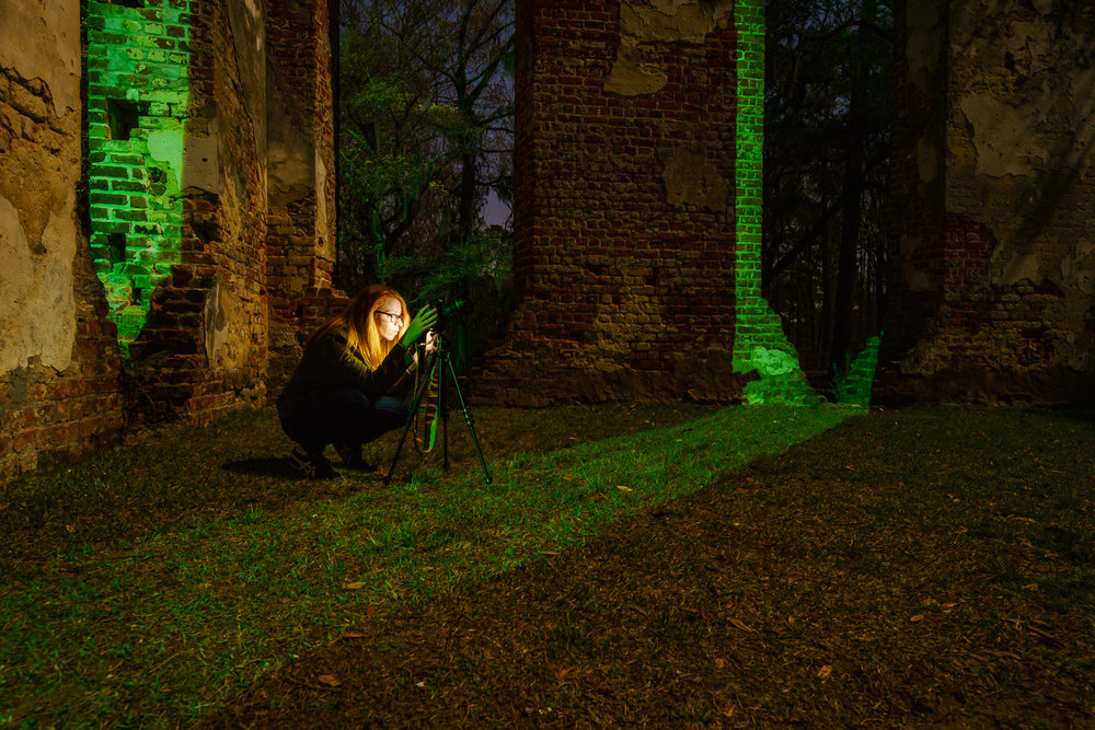 Allie shooting inside the Sheldon Church ruins at night.